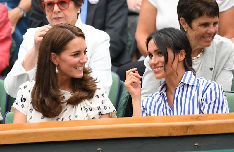 Catherine, Duchess of Cambridge and Meghan, Duchess of Sussex, at Wimbledon together on July 14.  (Karwai Tang via Getty Images)