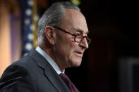 U.S. Senate Majority Leader Chuck Schumer (D-NY) speaks at a news conference at the U.S. Capitol