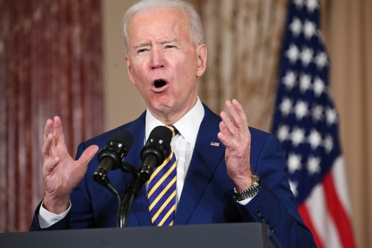 US President Joe Biden speaks about foreign policy at the State Department