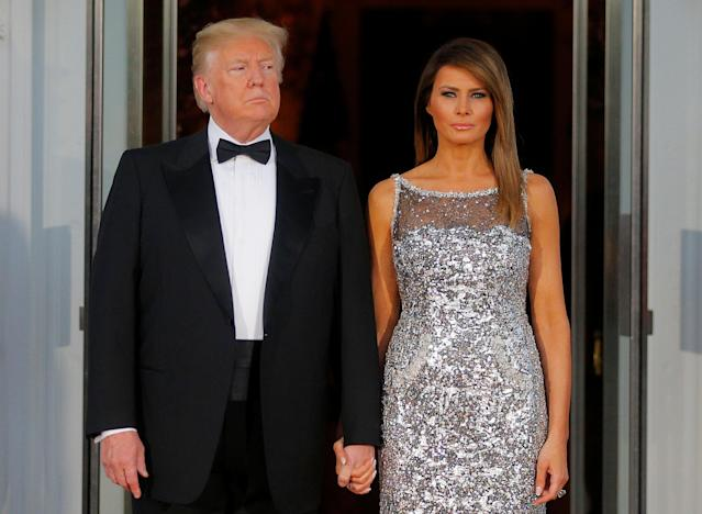 President Trump and first lady Melania Trump at a state dinner at the White House on April 24. (Photo: Brian Snyder/Reuters)