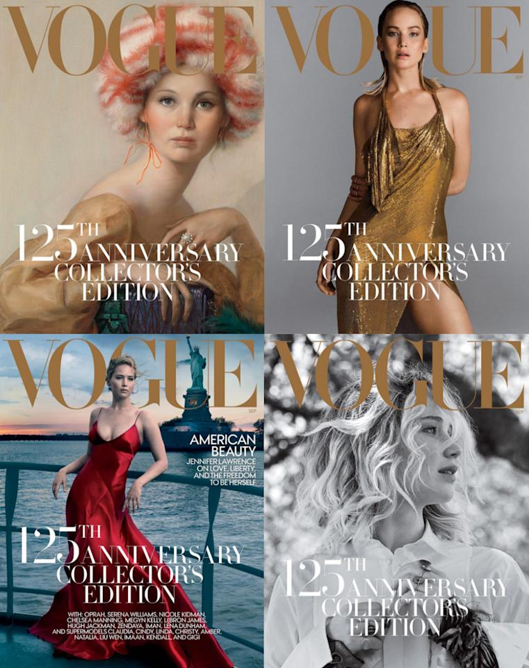 <p><b><b><b>Vogue didn't just run with one September 2017 cover. Instead the fashion bible, helmed by Anna Wintour, released four covers – each starring Hollywood starlet Jennifer Lawrence. They weren't all traditional photos of the actress, though. One of the shots was actually a portrait painted by an artist. </b></b></b></p>