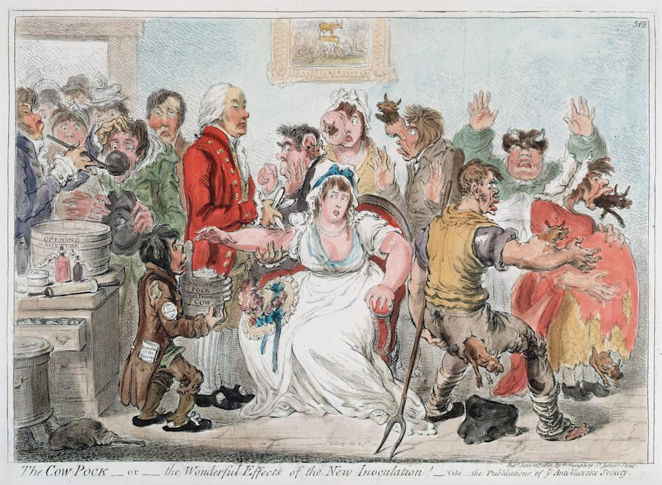 UNSPECIFIED - CIRCA 1754: Gillray cartoon on vaccination against Smallpox using Cowpox serum, 1802. In 1796 the English physician Edward Jenner (1749-1823) proved efficacy of practice, but opposition continued for a while. Hand-coloured engraving (Photo by Universal History Archive/Getty Images)