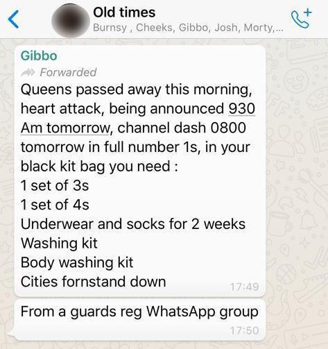The message from a WhatsApp group that kicked off the rumours. Photo: Twitter/babdb55769308
