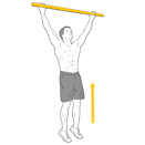 <p>Begin the exercise by jumping up and grabbing the bar with an overhand grip. Position your hands a little bit wider than shoulder-width apart, extend your arms fully and keep your feet together at all times throughout the movement.</p><p><strong>Form check: </strong>Make sure both hands are over the bar, palms facing away. This will engage your back instead of your arms, which is the key to maximising your strength.</p>