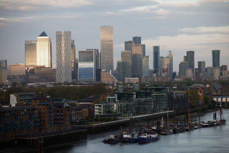 FILE PHOTO: Skyscrapers in The City of London financial district are seen from City Hall in London