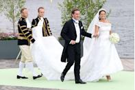 <p>Princess Madeleine, the youngest child of the King and Queen of Sweden, wore an off-the-shoulder Valentino gown for her wedding to financier Christopher O'Neill. </p>