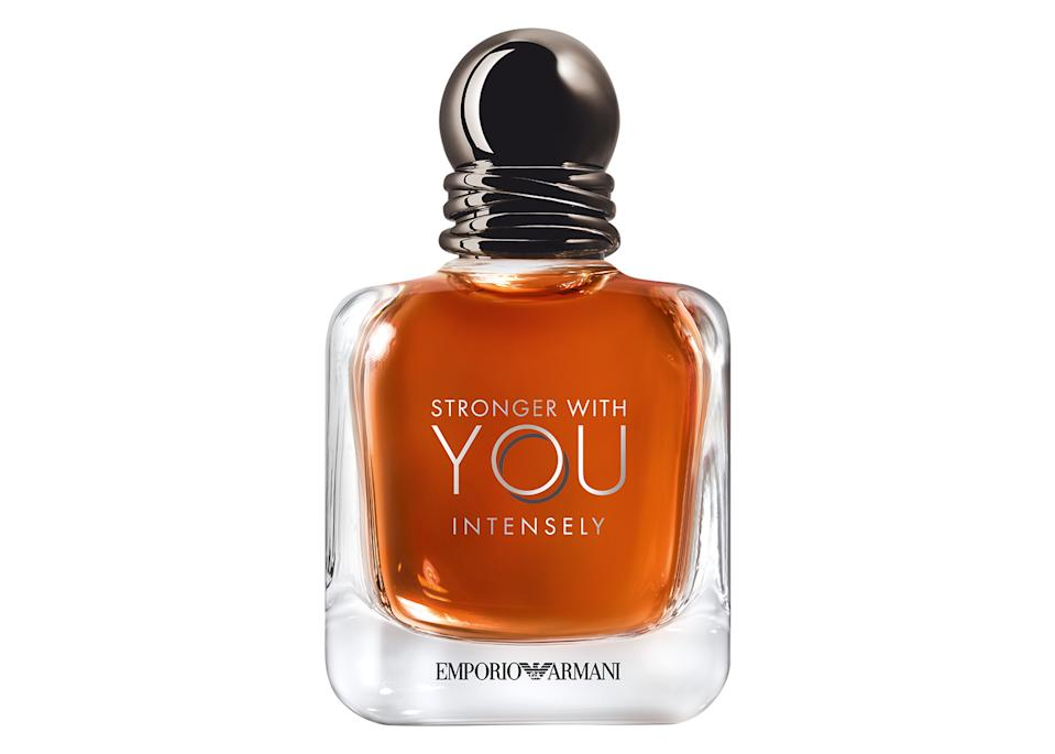 """You can't go wrong with a good old fashioned fragrance and we recommend checking out Armani's Strong with You Intensely bottle which features warm and spicy notes of cinnamon. Plus, it'll look great on your dad's bathroom shelf. <a href=""""https://go.skimresources.com?id=134214X1597530&xs=1&url=https%3A%2F%2Fwww.theperfumeshop.com%2Farmani%2Fstronger-with-you-intensely%2Feau-de-parfum-for-him%2Fp%2F73450EDPJU"""" rel=""""nofollow noopener"""" target=""""_blank"""" data-ylk=""""slk:Buy now"""" class=""""link rapid-noclick-resp""""><em>Buy now</em></a><em>.</em>"""