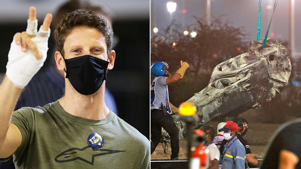 Pictured here, Romain Grosjean is out of hospital after the shocking crash at the Bahrain GP.