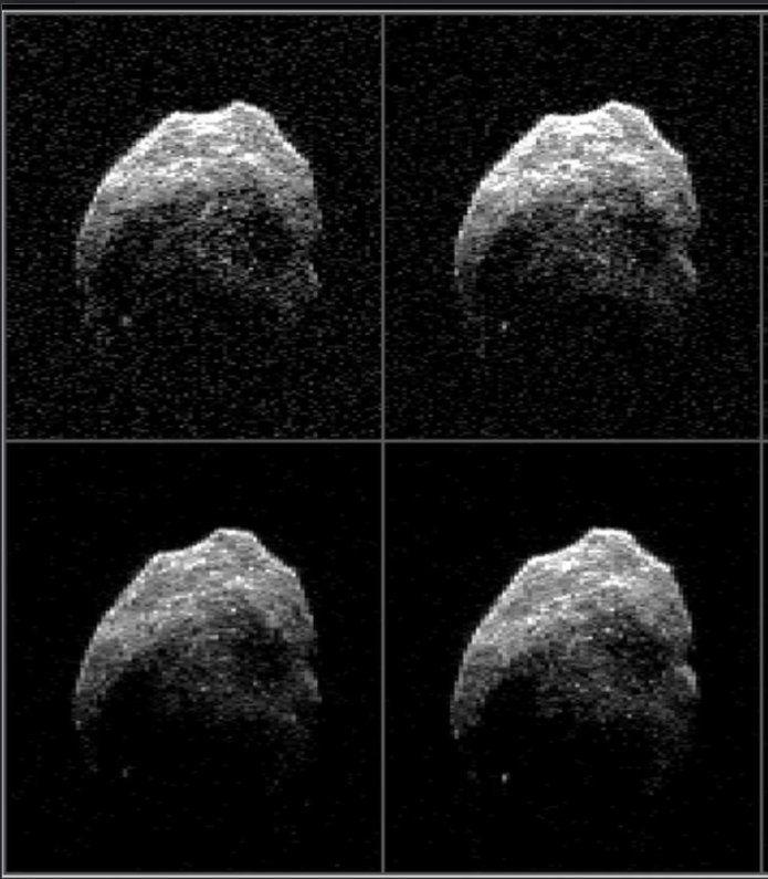 Individual radar images of the Halloween asteroid, 2015 TB145, photographed Oct. 31, 2015, by NASA's DSS-14 antenna in Goldstone, California, and the Green Bank telescope in West Virginia.