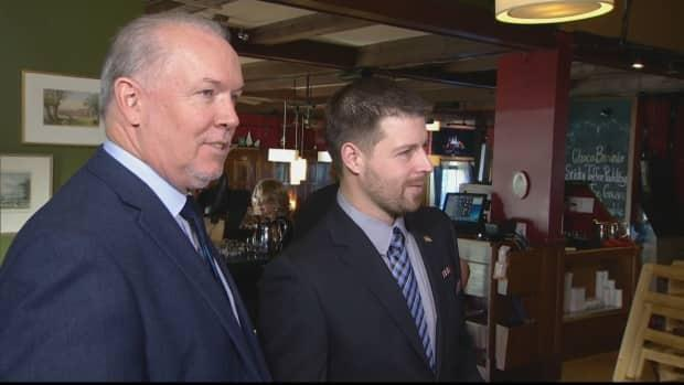 Bryce Casavant (right) with NDP Leader John Horgan when he sought the party's nomination in Oak Bay-Gordon Head riding in 2017.