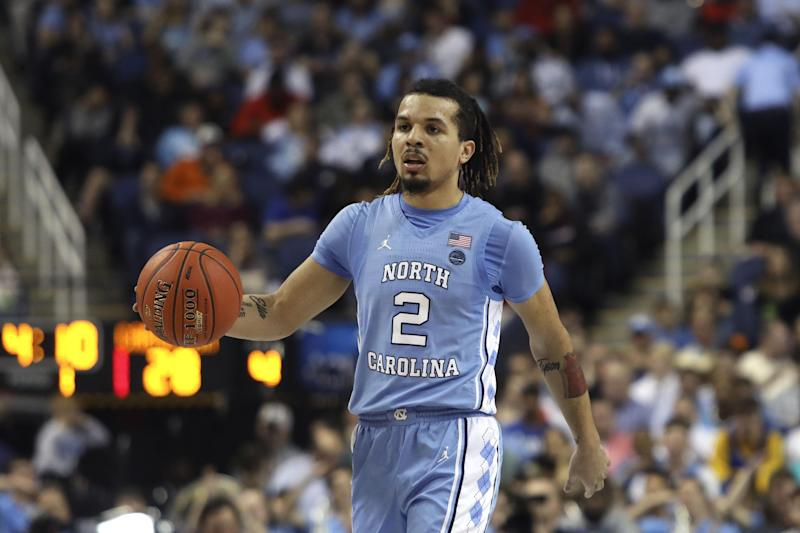 North Carolina guard Cole Anthony (2) dribbles against Virginia Tech during the first half of an NCAA college basketball game at the Atlantic Coast Conference tournament in Greensboro, N.C., Tuesday, March 10, 2020. (AP Photo/Ben McKeown)