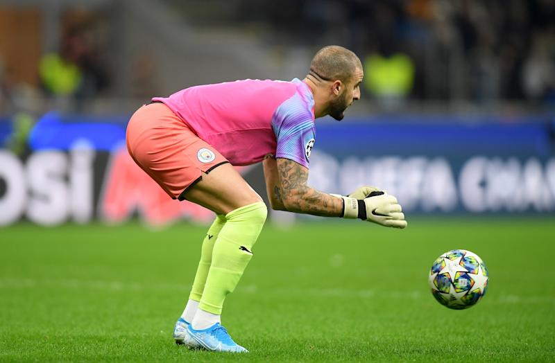 Soccer Football - Champions League - Group C - Atalanta v Manchester City - San Siro, Milan, Italy - November 6, 2019 Manchester City's Kyle Walker in action after coming on as a substitute goalkeeper REUTERS/Daniele Mascolo