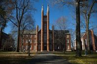 """<p><strong>Established in</strong> <strong>1787</strong> </p><p><strong>Location: Lancaster, Pennsylvania </strong></p><p>In 1787, Franklin & Marshall College was founded with a generous financial donation from Benjamin Franklin. It was the <a href=""""https://www.fandm.edu/about/mission-and-history"""" rel=""""nofollow noopener"""" target=""""_blank"""" data-ylk=""""slk:first bilingual college"""" class=""""link rapid-noclick-resp"""">first bilingual college</a> in the U.S., as classes were taught in both English and German, and it was also the first coeducational institution, allowing both men and women to attend (this was eventually abandoned for 182 years). </p>"""