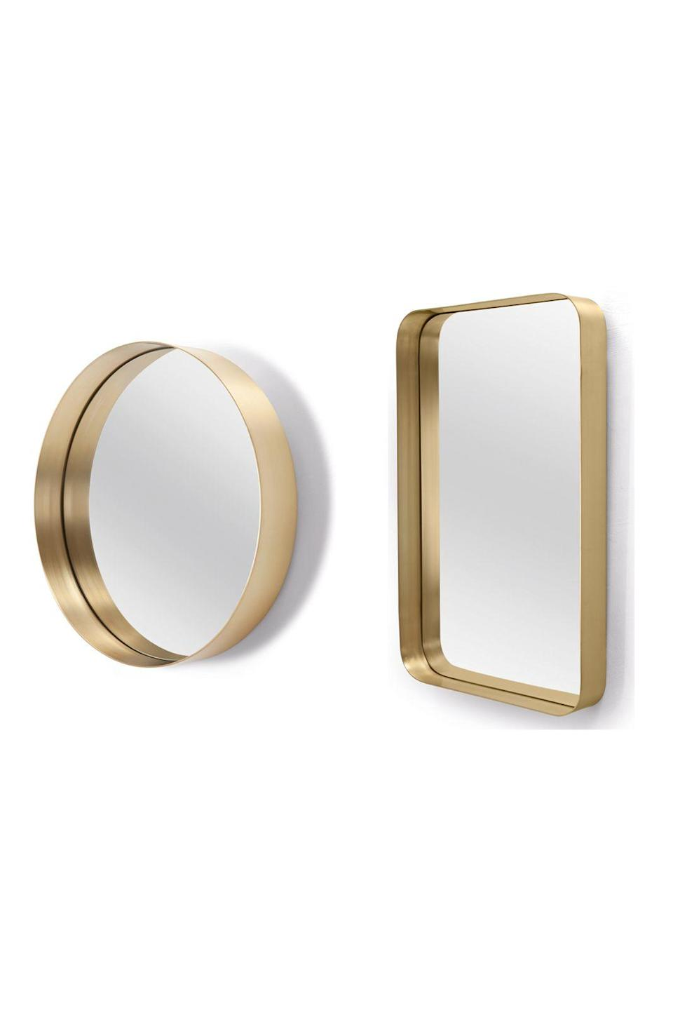 """<p><strong>On reflection</strong></p><p>Give walls an edge, or to be more accurate, a brass-edged mirror with made.com's Alana designs. Equal parts luxe and modern, they also have the added bonus of a ledge for emergency lipsticks.</p><p>Round mirror £99, <a href=""""http://www.made.com/alana-round-mirror-brass"""" rel=""""nofollow noopener"""" target=""""_blank"""" data-ylk=""""slk:made.com"""" class=""""link rapid-noclick-resp"""">made.com</a>, rectangular mirror £129, <a href=""""http://www.made.com/alana-rectangular-mirror-brass"""" rel=""""nofollow noopener"""" target=""""_blank"""" data-ylk=""""slk:made.com"""" class=""""link rapid-noclick-resp"""">made.com</a></p>"""