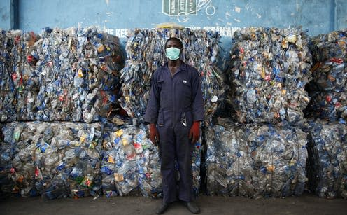 """<span class=""""caption"""">A startup in Lagos, Nigeria hopes to help manage the recent deluge of plastic waste.</span> <span class=""""attribution""""><a class=""""link rapid-noclick-resp"""" href=""""https://webgate.epa.eu/webgate"""" rel=""""nofollow noopener"""" target=""""_blank"""" data-ylk=""""slk:EPA-EFE/AKINTUNDE AKINLEYE""""> EPA-EFE/AKINTUNDE AKINLEYE</a></span>"""