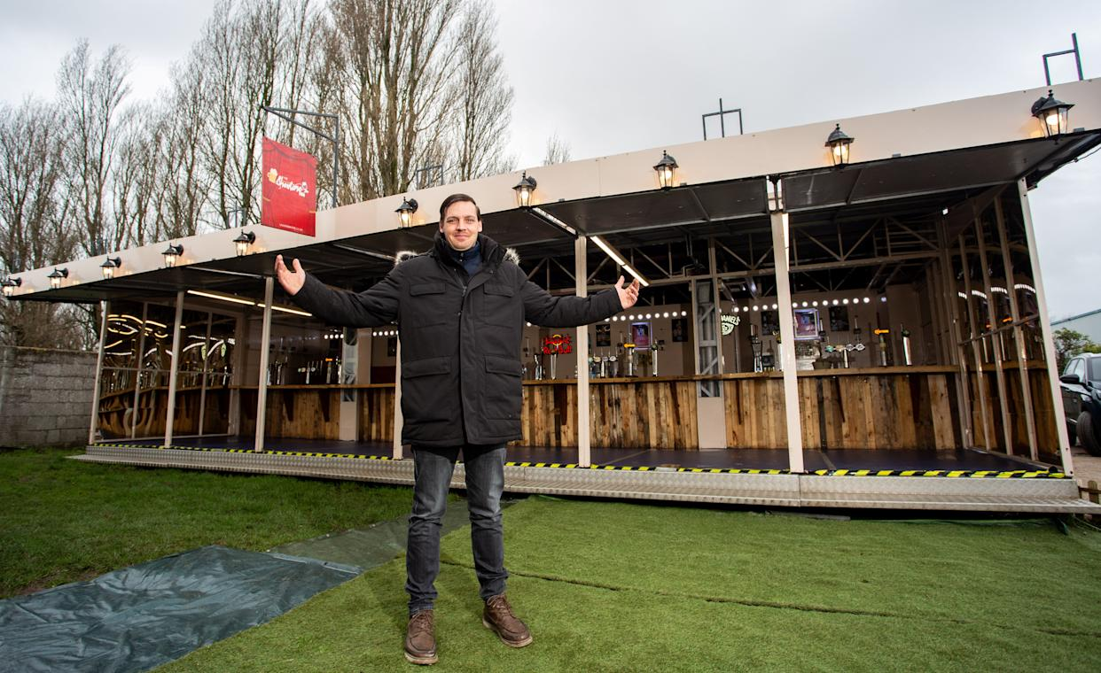 A man has built the UK's biggest mobile pub - but can't take it anywhere due to Covid restrictions