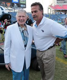 Owner Bud Adams (left) and Jeff Fisher rarely saw eye to eye on the subject of disgruntled quarterback Vince Young