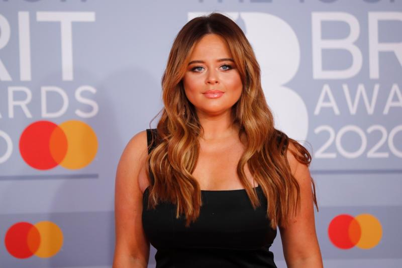 Emily Atack poses on the red carpet on arrival for the BRIT Awards 2020 in London on February 18, 2020. (Photo by TOLGA AKMEN/AFP via Getty Images)