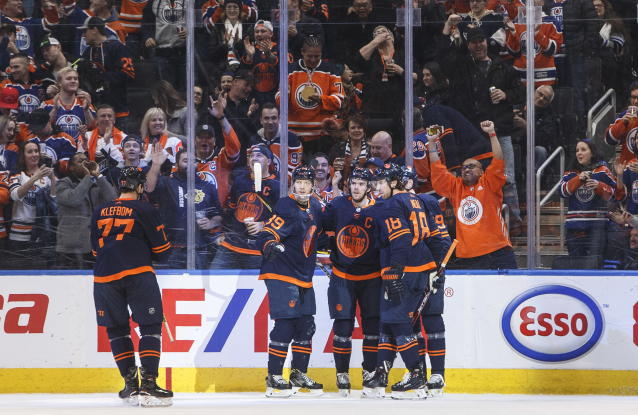 Edmonton Oilers celebrate a goal against the Los Angles Kings during the first period of an NHL hockey game Friday, Dec. 6, 2019, in Edmonton, Alberta. (Jason Franson/The Canadian Press via AP)