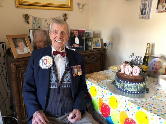 Second World War veteran Charlie Pallett celebrating his 100th birthday
