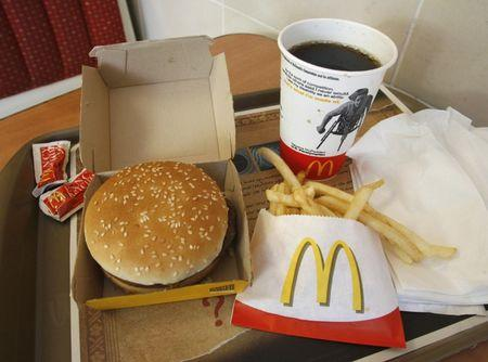 A McDonald's meal is pictured at a branch of the restaurant in Los Angeles