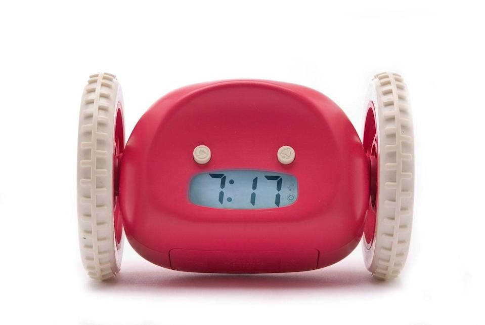 """<p>The <a href=""""https://www.popsugar.com/buy/Clocky-Mobile-Alarm-Clock-59467?p_name=Clocky%20Mobile%20Alarm%20Clock&retailer=amazon.com&pid=59467&price=40&evar1=news%3Aus&evar9=36026397&evar98=https%3A%2F%2Fwww.popsugar.com%2Fnews%2Fphoto-gallery%2F36026397%2Fimage%2F45606314%2FWandering-Alarm-Clock&list1=gifts%2Cgift%20guide%2Cdigital%20life%2Ctech%20gifts%2Cgifts%20for%20men&prop13=api&pdata=1"""" class=""""link rapid-noclick-resp"""" rel=""""nofollow noopener"""" target=""""_blank"""" data-ylk=""""slk:Clocky Mobile Alarm Clock"""">Clocky Mobile Alarm Clock</a> ($40) is a must have for those who can never get out of bed. It'll jump off your table and run around after nine minutes of snooze time. This means that you'll definitely be saving those minutes you waste repeatedly hitting the snooze button. Sleep is essential for a working woman or man, but on the days when you're too busy to get a good night's rest, Clocky will be around to help you kick-start your day!</p>"""