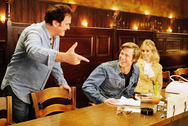 Quentin Tarantino directs Brad Pitt and Elise Nygaard Olson on the set of 'Once Upon a Time in Hollywood' (Photo: Andrew Cooper / © Columbia Pictures / courtesy Everett Collection)