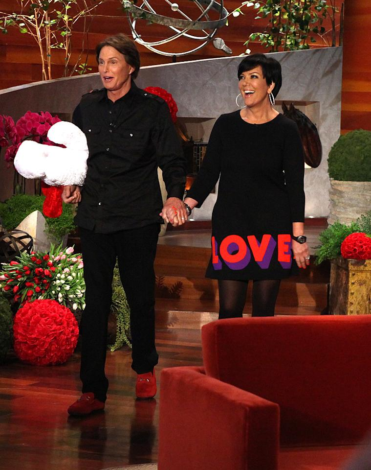 """After more than 20 years of marriage, a bunch of reality shows, and several facelifts (see photo) Kris and Bruce Jenner are still going strong. On Tuesday, they visited """"The Ellen DeGeneres Show,"""" where Kris wore a special """"Love"""" dress to celebrate the holiday. (2/14/2012)"""