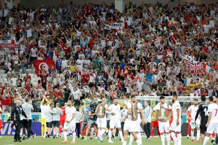 Soccer Football - World Cup - Group G - Tunisia vs England - Volgograd Arena, Volgograd, Russia - June 18, 2018 England fans celebrate victory after the match REUTERS/Toru Hanai