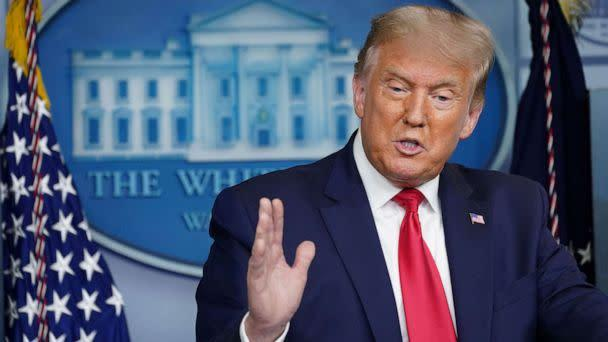 PHOTO: President Donald Trump addresses reporters during a news conference in the Brady Press Briefing Room at the White House in Washington, Sept. 10, 2020. (Kevin Lamarque/Reuters)