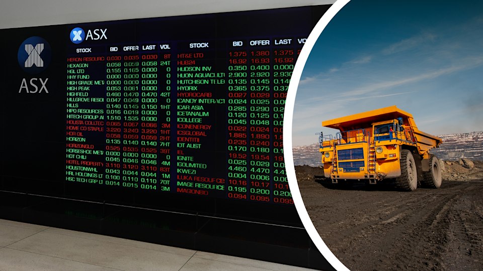 The board at the ASX showing company movements and a truck at an iron ore mine.
