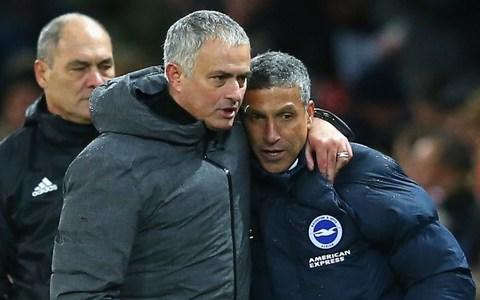 Jose Mourinho and Manchester United travel to the south coast this afternoon to face Chris Hughton's Brighton - Credit: GETTY IMAGES