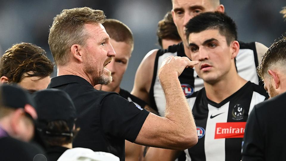 Nathan Buckley will coach his final game for the Magpies in the Queen's Birthday clash against Melbourne. (Photo by Quinn Rooney/Getty Images)