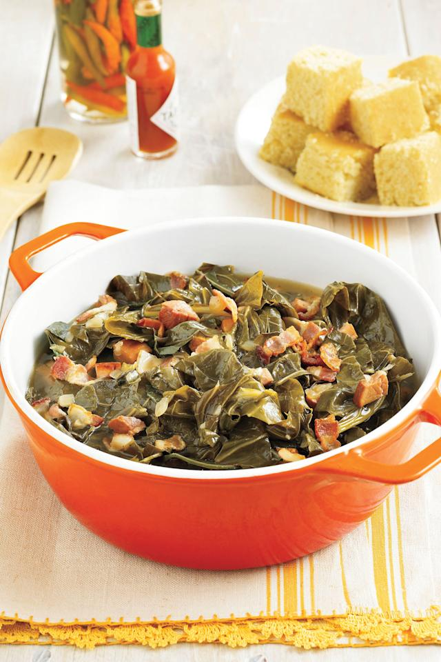 "<p><strong>Recipe:</strong> <a href=""https://www.southernliving.com/recipes/southern-collard-greens""><strong>Southern-Style Collard Greens</strong></a></p> <p> No holiday table would be complete without a big pot of collard greens.</p>"