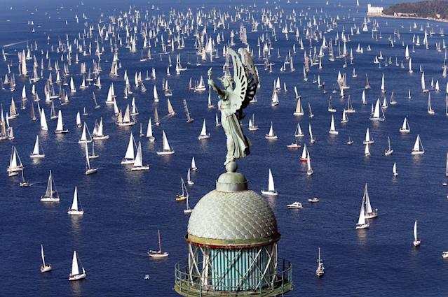 Sailing boats gather at the start of the Barcolana regatta in front of Trieste harbour, Italy, October 9, 2016. REUTERS/Stefano Rellandini TPX IMAGES OF THE DAY