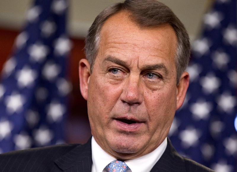 House Speaker John Boehner of Ohio takes questions during a news conference on Capitol Hill in Washington, Thursday, March 29, 2012.  (AP Photo/J. Scott Applewhite)