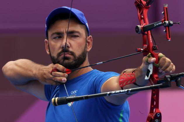 TOKYO, JAPAN - JULY 31:  Mauro Nespoli of Team Italy competes in the archery Men's Individual 1/8 Eliminations on day eight of the Tokyo 2020 Olympic Games at Yumenoshima Park Archery Field on July 31, 2021 in Tokyo, Japan. (Photo by Justin Setterfield/Getty Images) (Photo: Justin Setterfield via Getty Images)