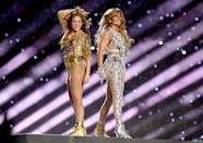 <p>The two Latina women closed the show in complementing metallic outfits. </p>