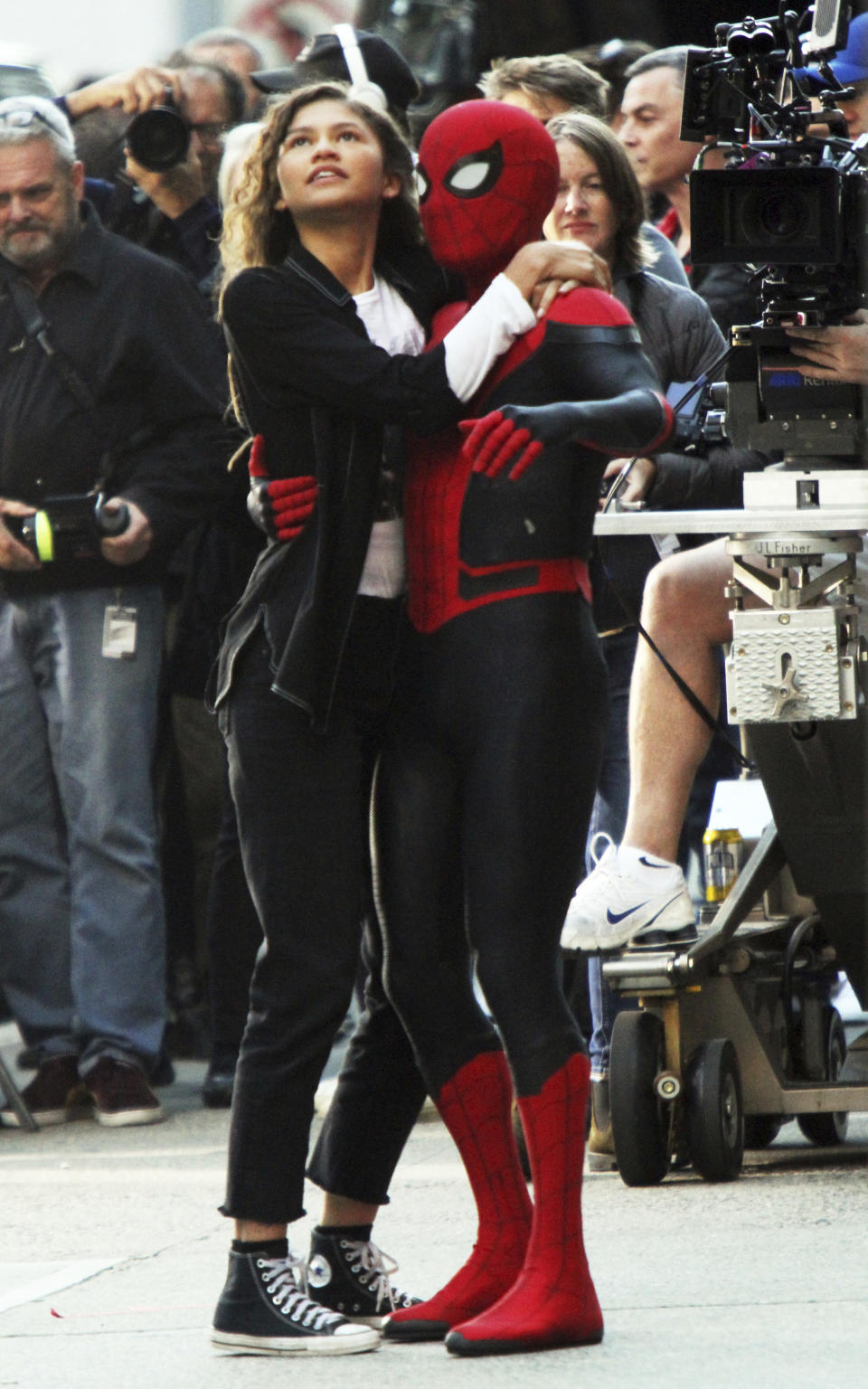 October 12, 2018 Tom Holland, Zendaya filiming Spider-Man: Far From Home Filming in New York October 12, 2018 Credit: RW / MediaPunch /IPX