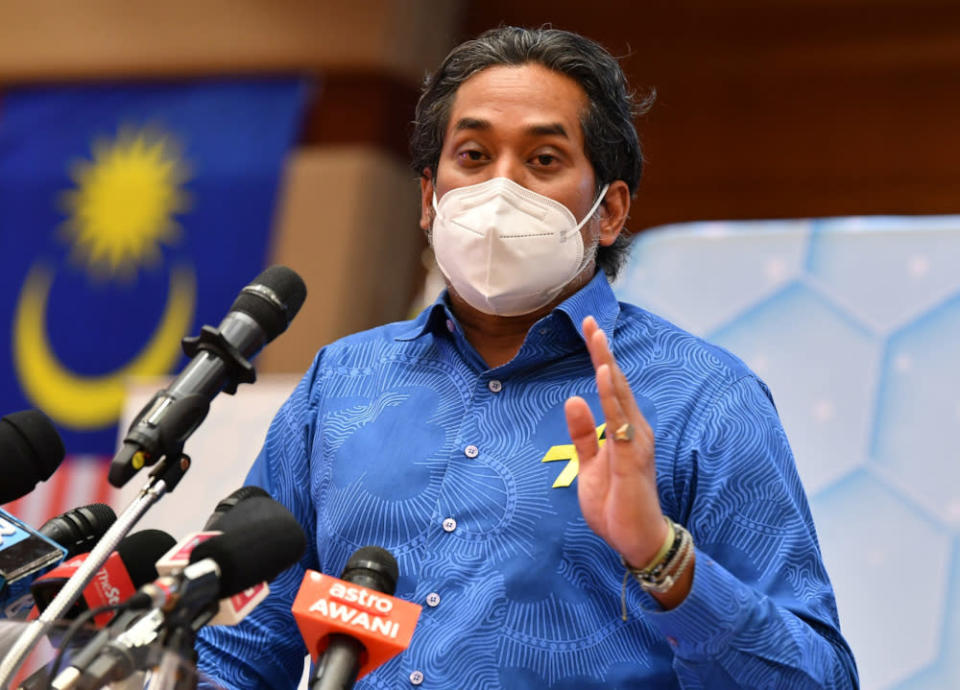 Health Minister Khairy Jamaluddin speaks at a press conference at the ministry in Putrajaya, September 9, 2021. — Bernama pic