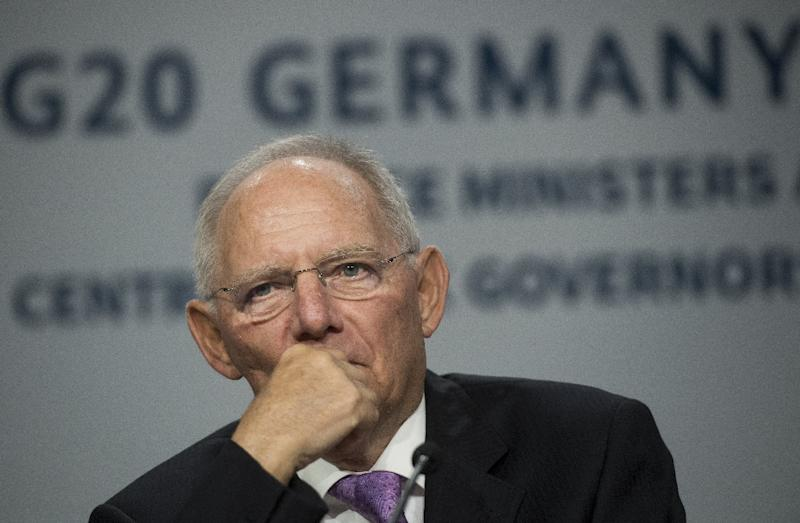 """German Finance Minister Wolfgang Schaeuble, whose country holds the rotating G20 presidency, said officials agreed growth must be made """"more inclusive"""" to stem the rise of protectionism (AFP Photo/SAUL LOEB)"""