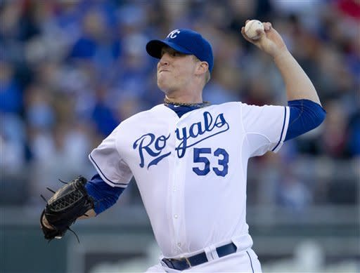 Kansas City Royals starting pitcher Will Smith works against a Cleveland Indians batter during the first inning of a baseball game at Kauffman Stadium in Kansas City, Mo., Saturday, Sept. 22, 2012. (AP Photo/Orlin Wagner)