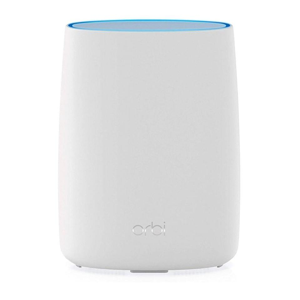"""<p><strong>NETGEAR</strong></p><p>amazon.com</p><p><strong>$299.99</strong></p><p><a href=""""https://www.amazon.com/dp/B0886XZLSJ?tag=syn-yahoo-20&ascsubtag=%5Bartid%7C2089.g.1336%5Bsrc%7Cyahoo-us"""" rel=""""nofollow noopener"""" target=""""_blank"""" data-ylk=""""slk:Shop Now"""" class=""""link rapid-noclick-resp"""">Shop Now</a></p><p>If you live in a rural area or mountainous region that isn't wired to receive internet by traditional means, we recommend this router from Netgear. It's the first tri-band mesh system that uses a 4G LTE connection. In case we lost you there, this simply means that it uses a SIM card from a mobile network (including AT&T and T-Mobile) to bring wireless internet to your home.</p><p>The Orbi delivers wicked-fast speeds up to 1.2Gbps and it covers floor plans up to 2,000 square feet. If you have an even bigger home, you can pair it with <a href=""""https://www.amazon.com/NETGEAR-Orbi-Mesh-WiFi-Satellite/dp/B083WY1WCB/?tag=syn-yahoo-20&ascsubtag=%5Bartid%7C2089.g.1336%5Bsrc%7Cyahoo-us"""" rel=""""nofollow noopener"""" target=""""_blank"""" data-ylk=""""slk:Netgear's Orbi satellites"""" class=""""link rapid-noclick-resp"""">Netgear's Orbi satellites</a> (sold separately) to extend the signal.<br></p>"""