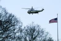 Marine One departs the White House with President Donald Trump aboard ahead of Inauguration Day ceremonies, Wednesday, Jan. 20, 2021, in Washington. (AP Photo/David J. Phillip)