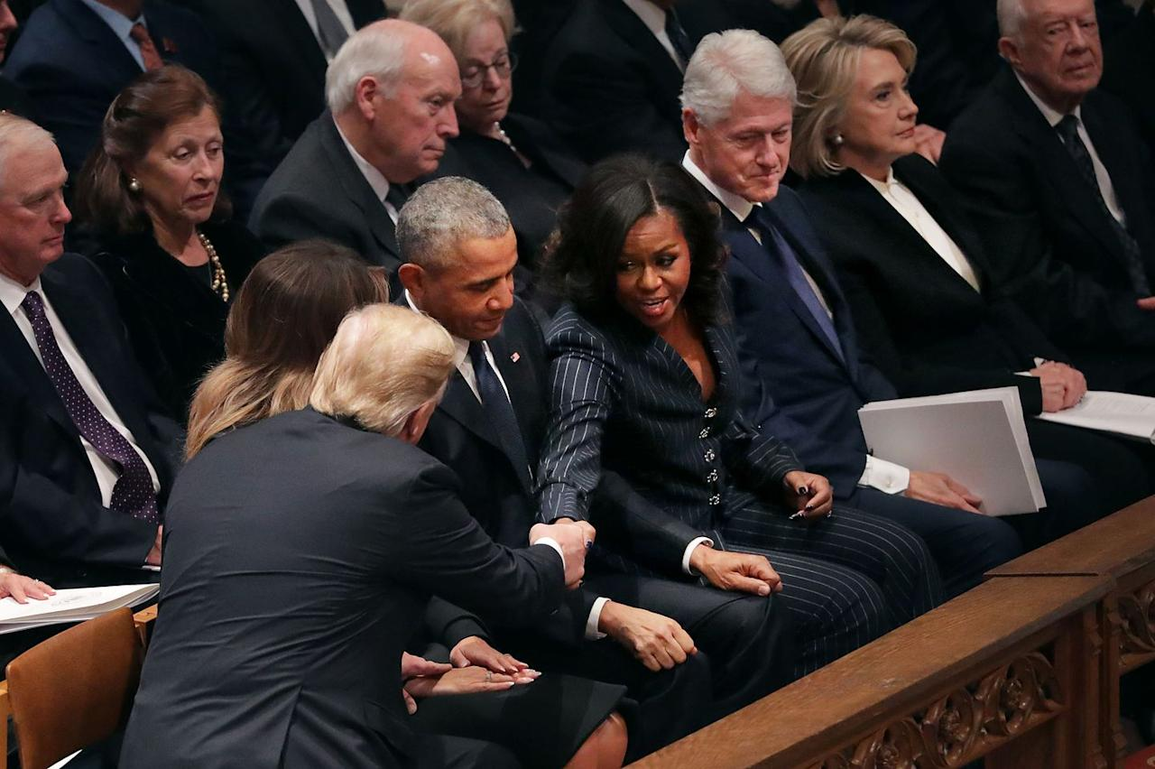 <p>President Donald Trump and First Lady Melania Trump greet former President Barack Obama and Michelle Obama at the National Cathedral.</p>