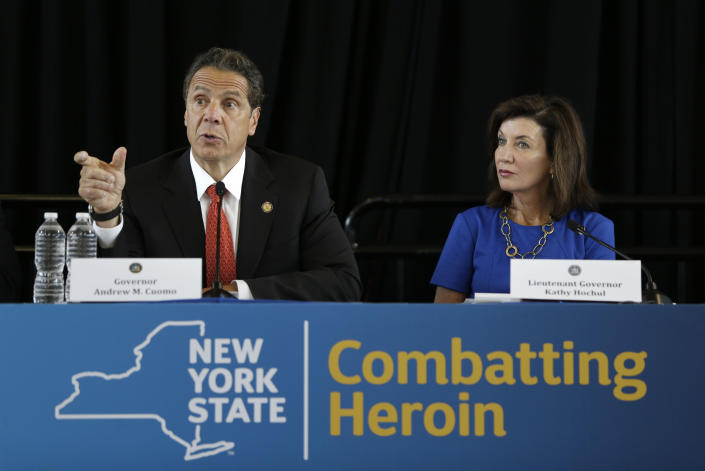 Andrew Cuomo, left, and Kathy Hochul