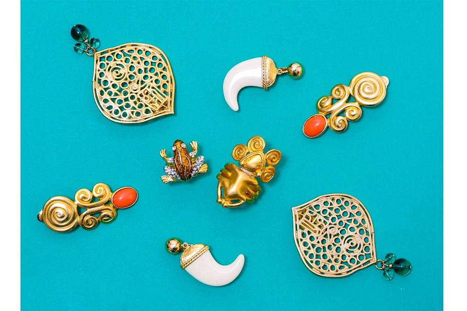 <p>Diana Vreeland was a huge fan of the Vintage Tusk Earrings and often wore them as part of her rotation of eclectic accessories. Other tribal pieces from the 1970s will be available as well, including the Net Earrings, Aztec Ring, and Aztec Earrings, and the Frog Ring from 1967 collection.</p>