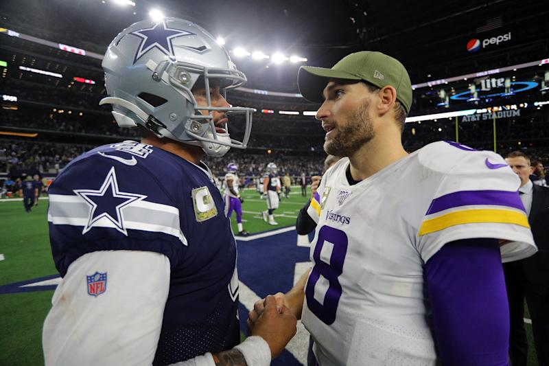 ARLINGTON, TEXDak Prescott could do worse than taking the Kirk Cousins contract path. (Richard Rodriguez/Getty Images)AS - NOVEMBER 10: Dak Prescott #4 of the Dallas Cowboys shakes hands with Kirk Cousins #8 of the Minnesota Vikings after the game at AT&T Stadium on November 10, 2019 in Arlington, Texas. (Photo by Richard Rodriguez/Getty Images)