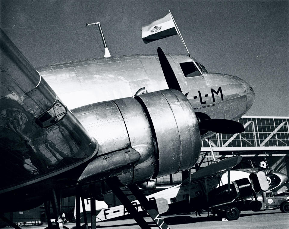 NETHERLANDS - APRIL 23:  When the DC-3 was introduced in 1936, it was the first airliner able to carry a sufficient number of passengers in such comfort and at such a cost as to encourage and promote a healthy growth of air traffic. It was known as the 'Dakota', or 'Pioneer 'when operated for the British armed forces and by British European Airways. KLM (the national Dutch airline) began in 1919 and was the first commercial airline company in the world. The DC-3 pictured was shot down over the Bay of Biscay on 1 June 1943 while en route from Whitchurch (near Bristol) to Lisbon. Amongst the passengers killed was the actor Leslie Howard, although it is thought that the Luftwaffe's target was Winston Churchill, who German intelligence said was on board the flight.  (Photo by SSPL/Getty Images)
