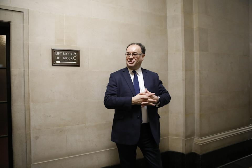 Bank of England Governor Andrew Bailey poses for a photograph on the first day of his new role at the central bank in London on March 16, 2020. (Photo by Tolga AKMEN / POOL / AFP) (Photo by TOLGA AKMEN/POOL/AFP via Getty Images)